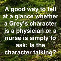 A good way to tell if a character is a nurse...